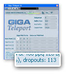 GigaTeleport画面の「dropouts」表示