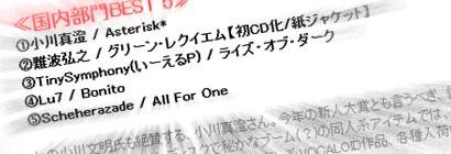 初音ミクさんのCDがWORLD DISQUEの2010年国内部門売上げ3位な件